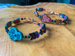 Sugar Skull Blue Rainbow Prism Arrow Bracelet in Memory Wire
