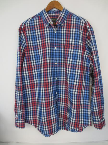 John Bartlett Consensus Red White Blue Men's Plaid Cotton Shirt | M