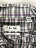Calvin Klein Men's Extreme Slim Fit Shirt Plaid Purple Black White | Size 15 34/35