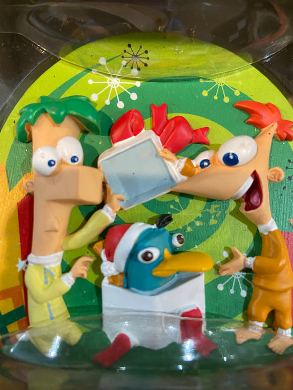 Phineas & Ferb Disney ornament with Agent P in a gift box