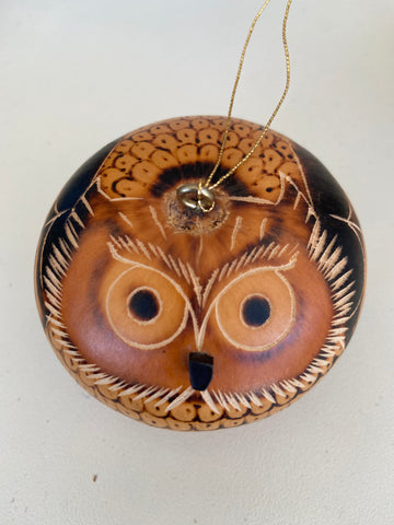 "Wooden Lucuma Owl Ornament 3"" Peru Rattle Shaker"