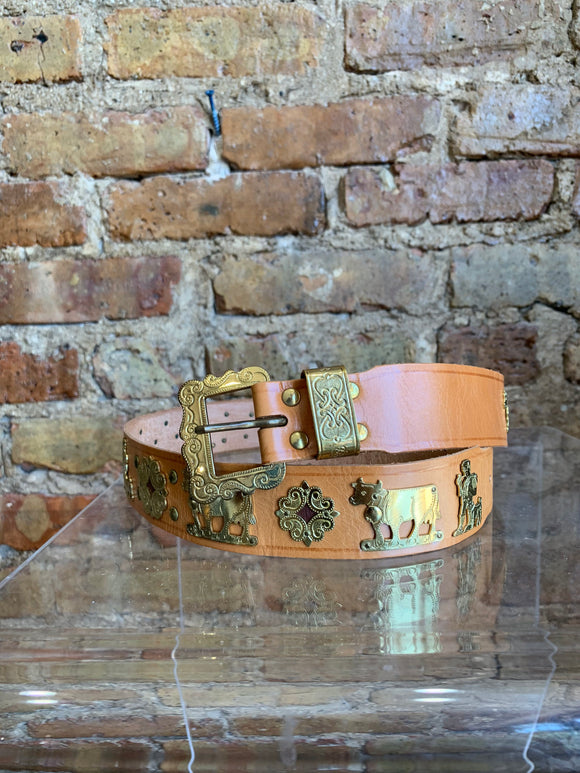 Ludwig Beck Leather Belt – Tan with Gold Metallic Shepards, Animals, Sun Relief Shapes