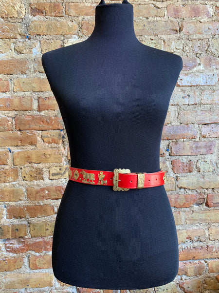 Ludwig Beck Leather Belt – Red with Gold Metallic Shepards/Animals/Sun Embellishments