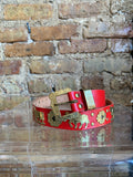 Traditional Swiss Belt - Appenzell region - Hand-Crafted Red Leather Brass Decoration