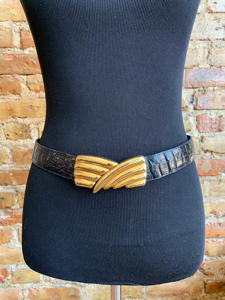 Yves Saint Laurent Black Alligator Belt 4714