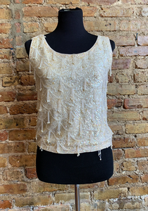 Sleeveless Sequin & Hand-beaded Top sz 8