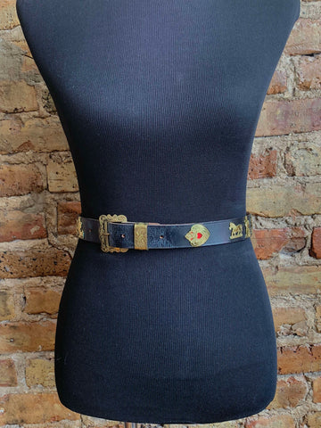 Ludwig Beck Leather Belt – Black with Gold Metallic Shepard, Animal and Sun Relief Shapes