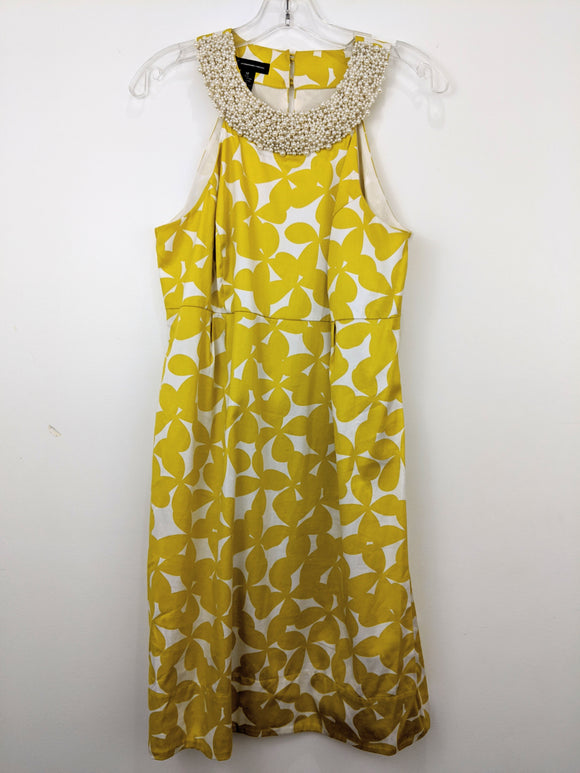 INC International Concepts Yellow Floral Pearl Dress | 12