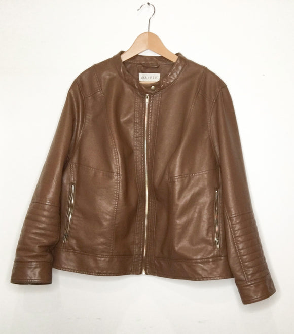AVA VIV Brown Faux Leather Jacket | Size 4x