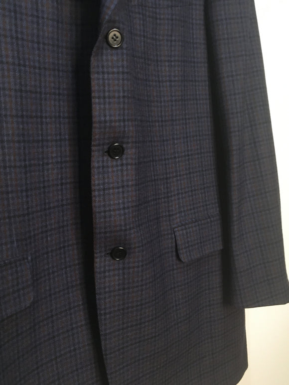 Canali Men's Deep Navy Fine Plaid Sport Coat Blazer | Size 52L