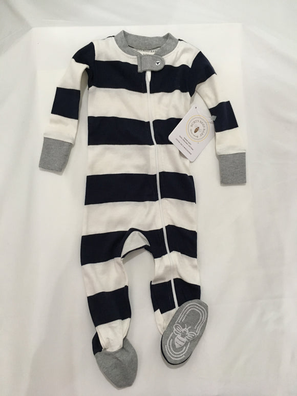 Burt's Bees Baby Organic Pajama Navy Blue and White 3-6M NWT