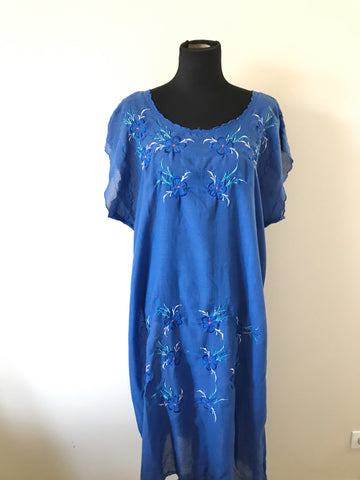 Mostata Blue Summer Embroidered Dress