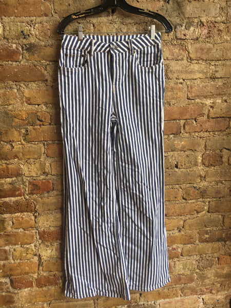 Rockins Striped High-Rise Flare Pants Sz 29