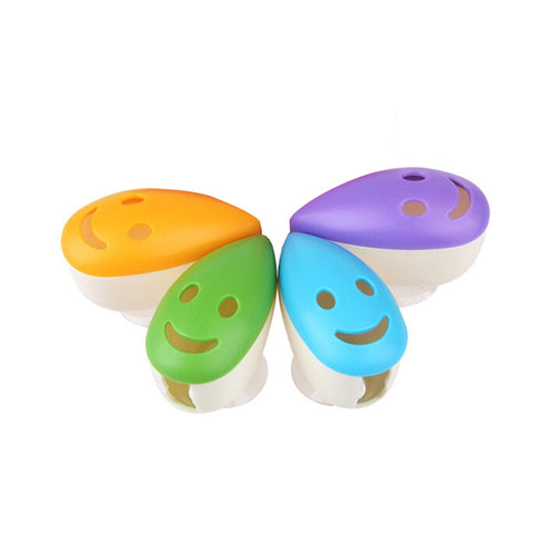 4pcs Smile Face Antibacterial Toothbrush Holders Suction Cup