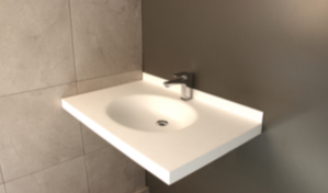 Vasque Nopia - Ovale - Plan Vasque sur mesure - Solid surface - Blanc
