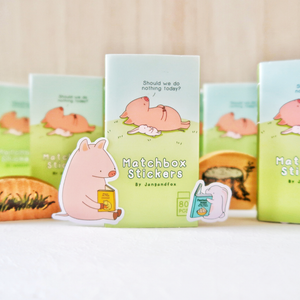 """Do Nothing Today"" Matchbox Stickers (Little Pig & Little Bunny)"