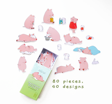 "Load image into Gallery viewer, ""Do Nothing Today"" Matchbox Stickers (Little Pig & Little Bunny)"