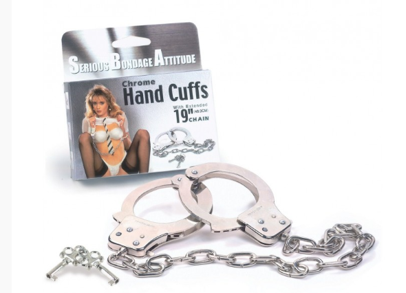 METAL HANDCUFFS WITH 19 INCH CHAIN