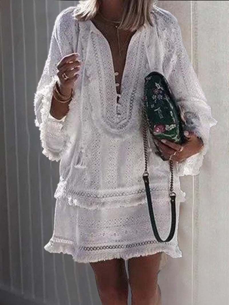 Long Sleeve V Neck Casual Vacation Dress