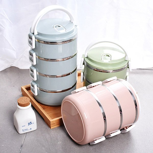 Stainless Steel Lunch Box Thermal Insulated Bento Food Container Macaroon Color 1/2/3/4 Layers