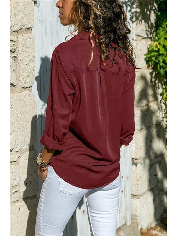 9 Kinds of Pure Color Plus Size Casual Buttoned Shirts