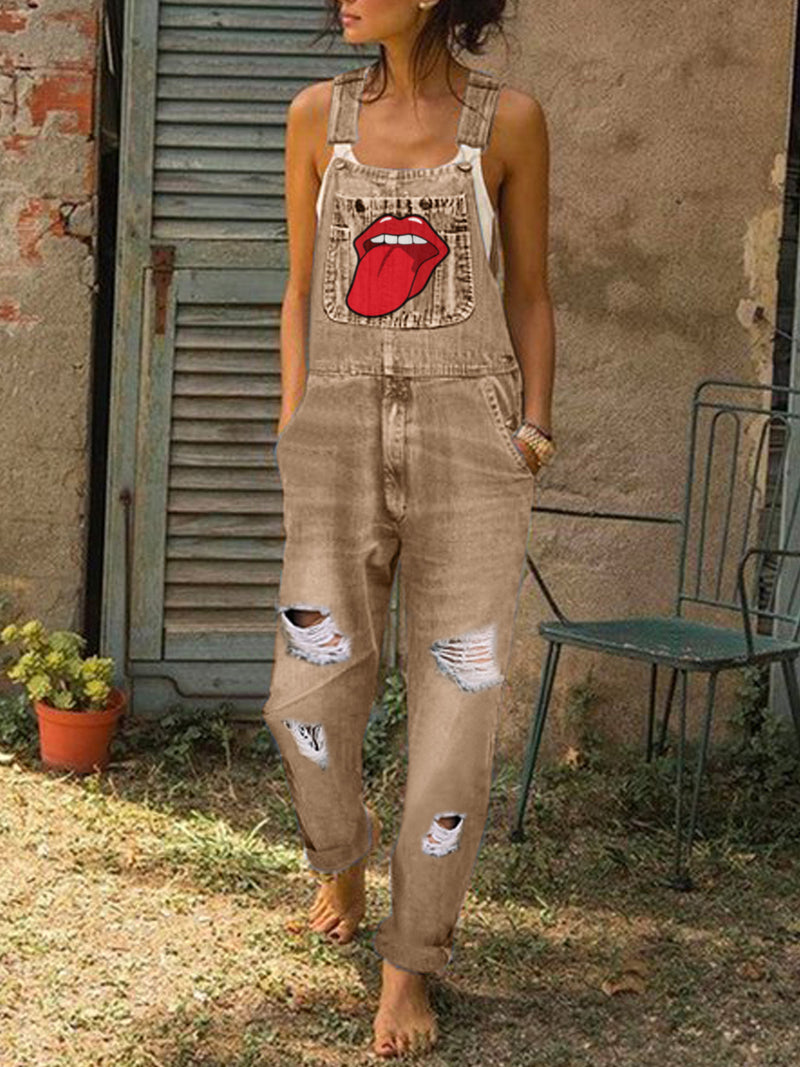 Casual Hip-hop Denim Jumpsuit