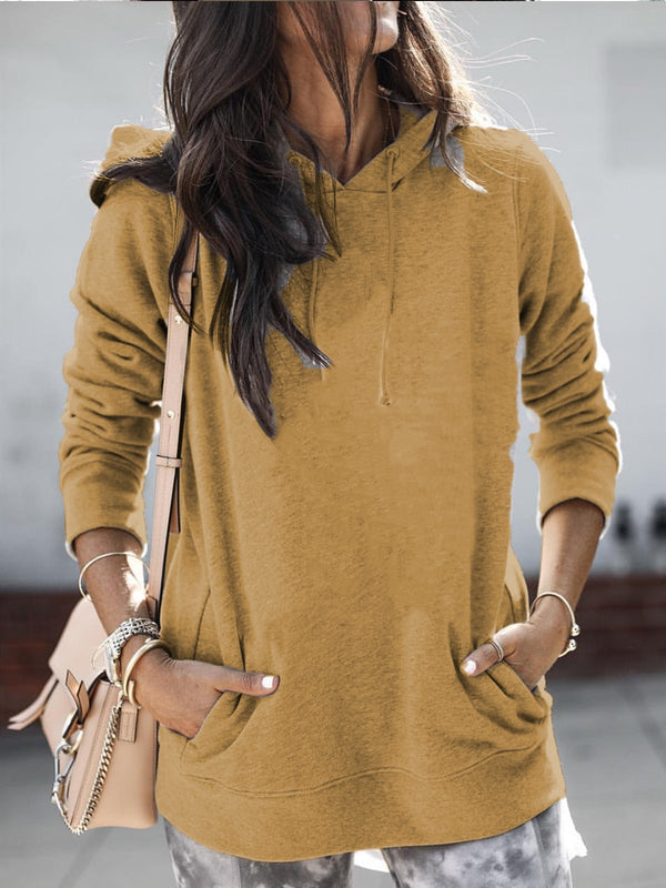 Casual Plain Drawstring Long Sleeve Pockets Hoodie