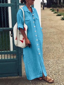 Women  Half Sleeve Solid  Buckle Loose Casual Shirt Maxi Dress