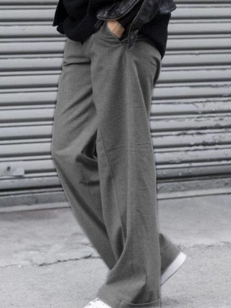 Gray Plain Cotton Casual Pants