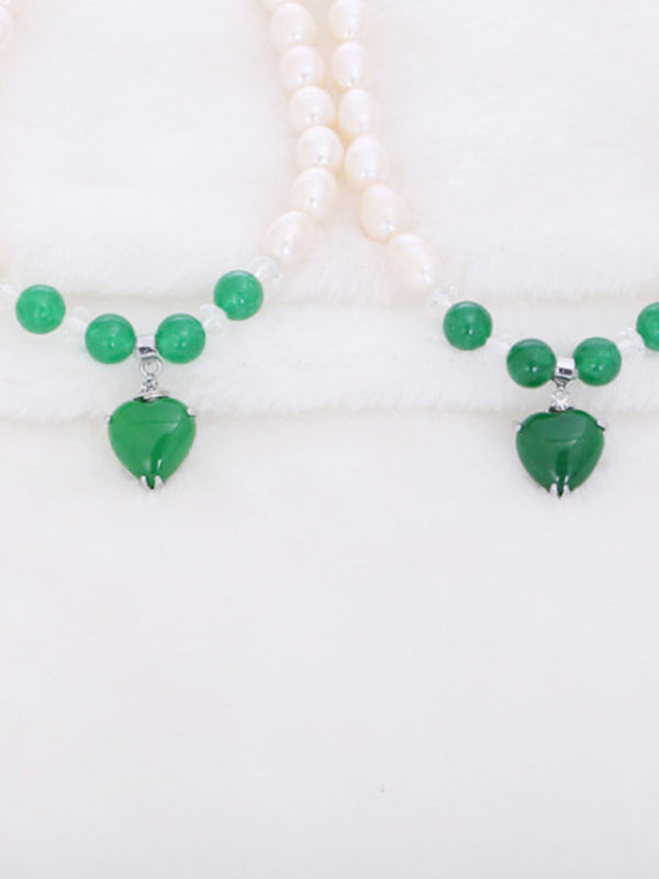 Alloy Pearl Crystal Green Elegant Necklace