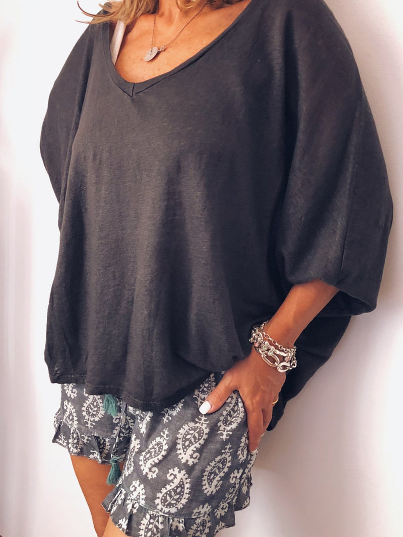 Black Long Sleeve Solid Shirts & Tops