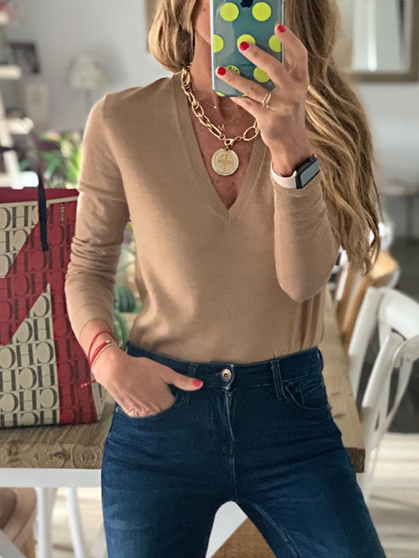 Coffee V Neck Casual Shirts & Tops