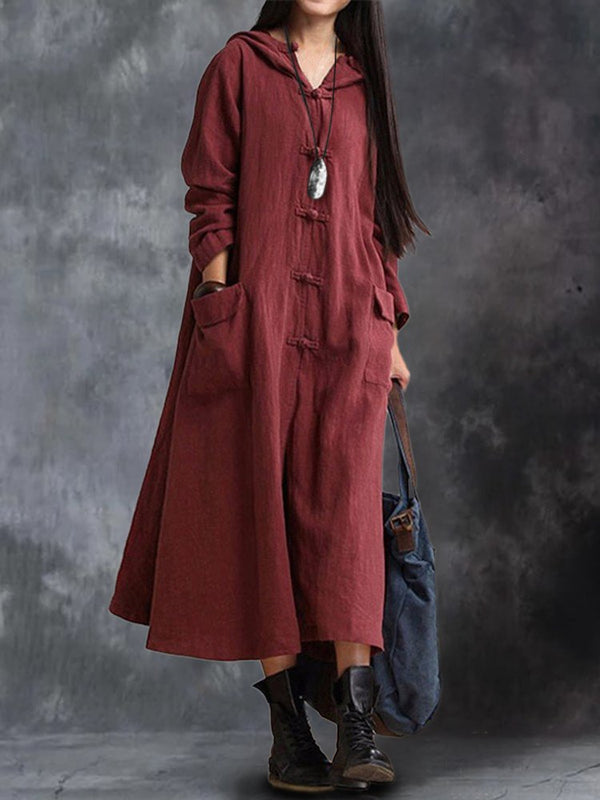 Plus Size Vintage Button Long Sleeve Hooded Plain Dresses