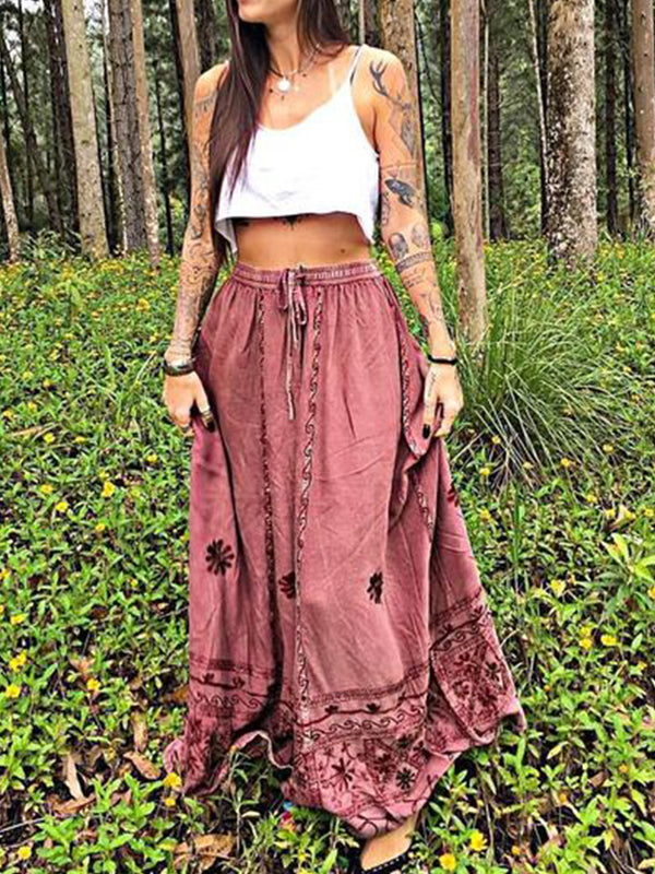 Red Cotton-Blend Casual Skirts