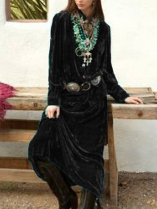 Dark Green Vintage V Neck Dresses