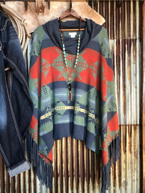 Blue Cotton-Blend Hoodie Vintage Patchwork Shirts & Tops