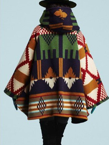 Aztec Fluffy Coat Hooded Button Front