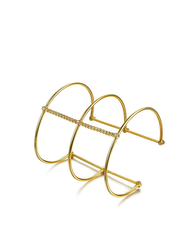 Golden Geometry 925 Sterling Silver Circle Design Bracelet