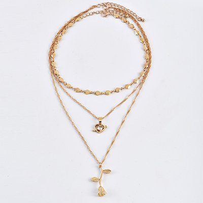 Golden Vintage Rose-shaped Holiday Date Elegant Alloy Necklace
