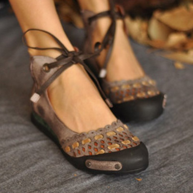 Deep Khaki Hollow-Out Flat Heel Daily Suede Flats