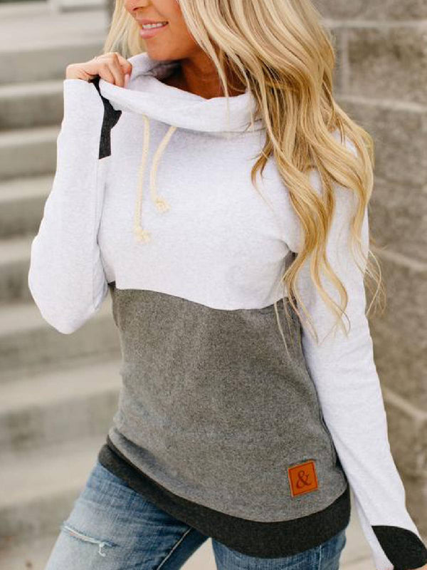 Long Sleeve Cotton-Blend Cowl Neck Casual Shirts & Tops