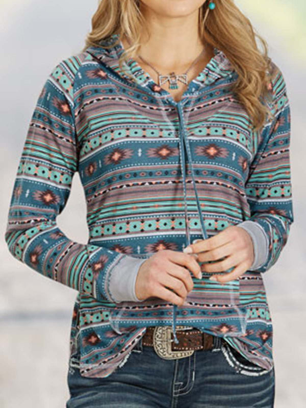 Blue Floral-Print Long Sleeve Shirts & Tops