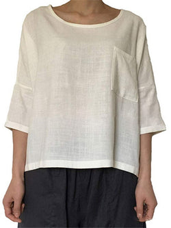 Paneled Casual Crew Neck Half Sleeve Shirts & Tops