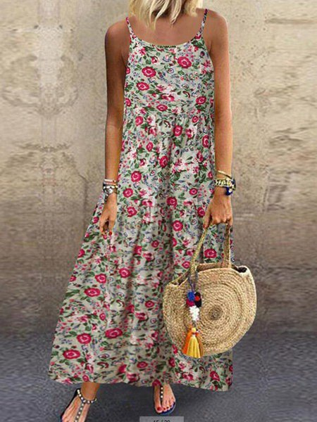 Floral Printed Sleeveless Holiday Spaghetti Maxi Dress