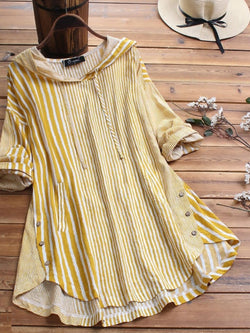 Plus Size Vintage Half Sleeve Striped Dresses