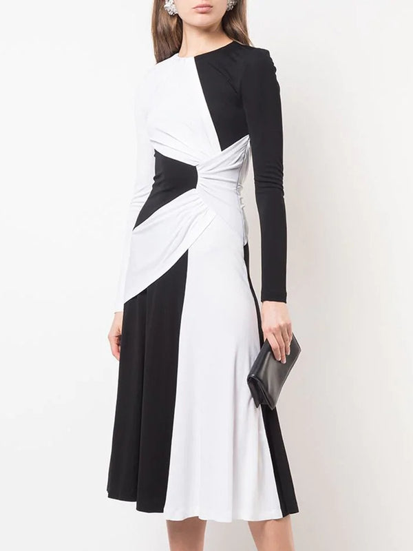 Black-White Sheath Color-block Solid Midi Dress