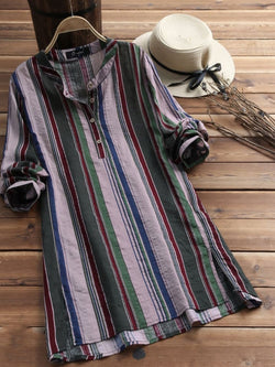 Plus Size Half Sleeve Vintage Striped Casual Tops