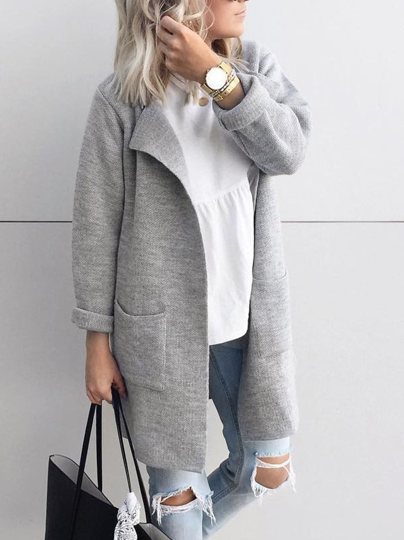 Plus Size Casual Solid Long Sleeve Pockets Outerwear