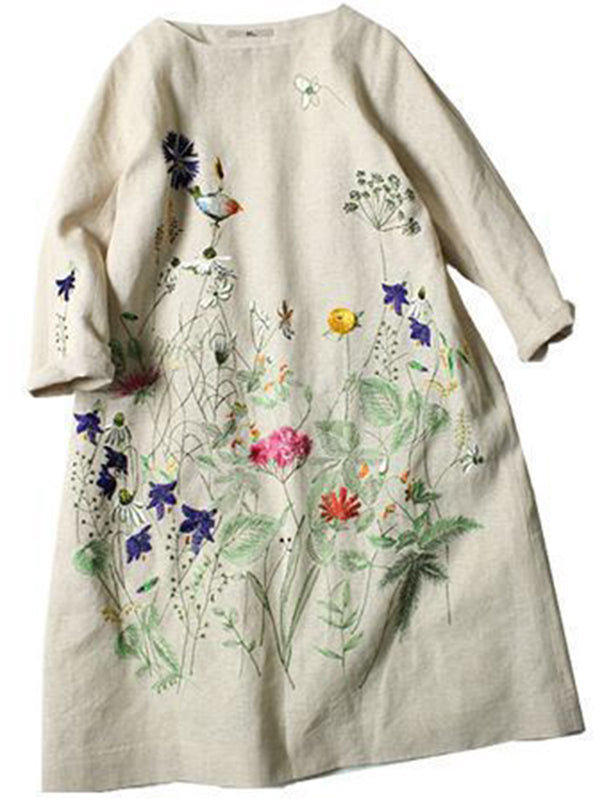 Embroidered vintage loose dress