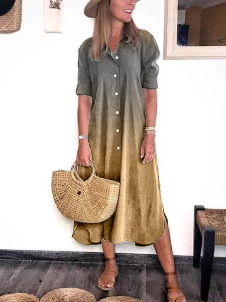 Plus Size Half Sleeve Casual Shirt Dresses